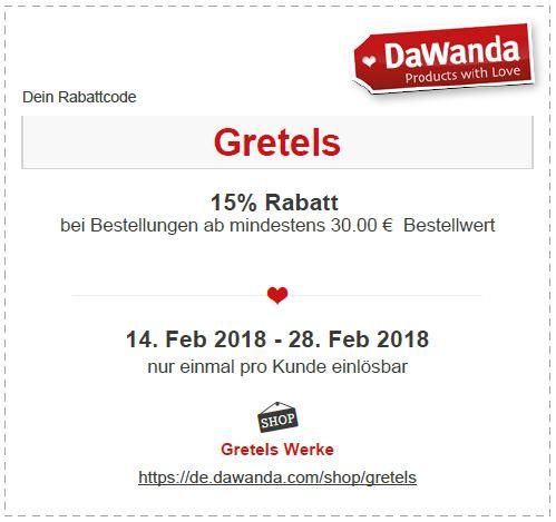 Coupon DaWanda Gretels Werke
