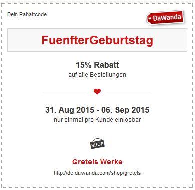 Gretels Werke 5. Geburtstag Rabattcode