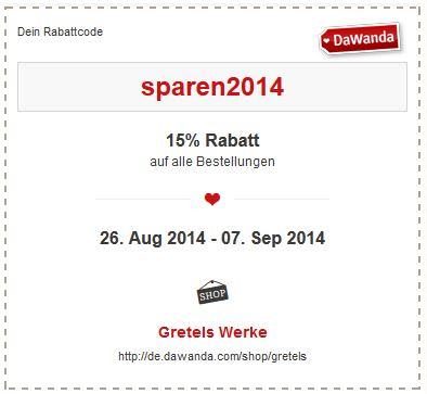 Gretels Werke Rabatt Rabattcode Code sparen2014