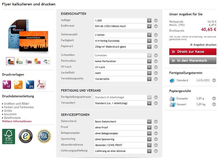 Online Flyer drucken - hochwertig, schnell & günstig  CEWE-PRINT Auftrag